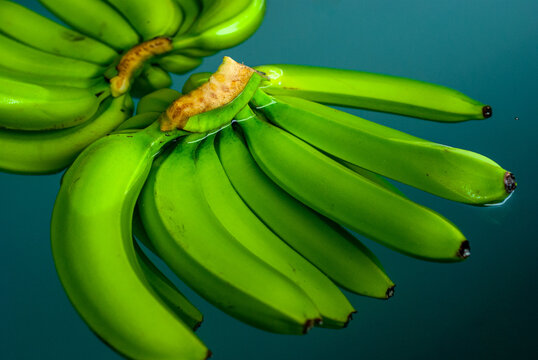 Green bananas floating and being processed