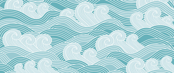 Traditional Japanese wave pattern vector. Luxury oriental style wallpaper. Hand drawn line arts design for prints, fabric, poster and wallpaper.