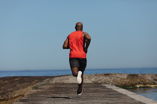 Rear view of fit senior african american man running on coastal path