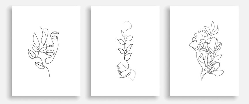 Woman Abstract Face with Flowers One Line Drawing. Female Portrait Minimalist Style. Botanical Print. Nature Trendy Symbol for Cosmetics. Continuous Line Art. Fashion Minimal Print. Beaty Logo. Vector