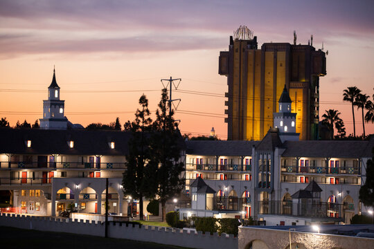 Twilight view of the skyline of downtown Anaheim, California, USA.