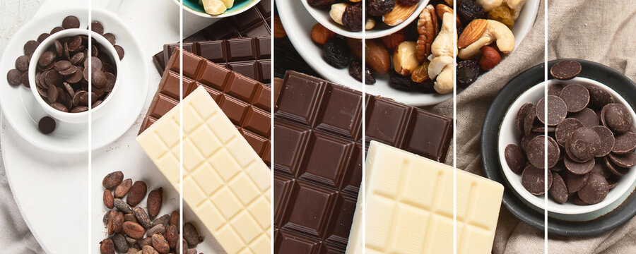 Collage of different types of chocolate and chocolate products