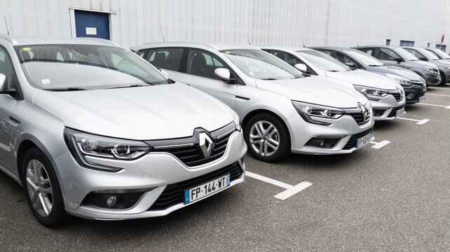 renault megane clio cars ready and parked in the dealership parking lot for sale
