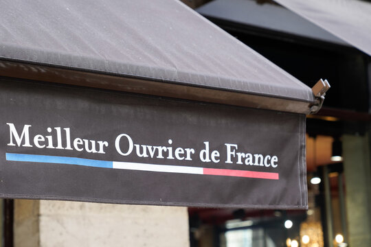 Meilleur Ouvrier de France text french logo and brand sign of MOF craftsmen competition in France