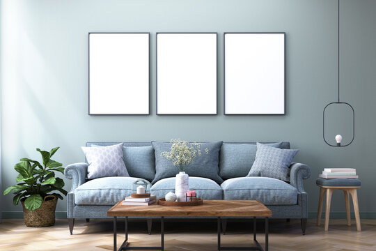 3 wood frame photo mockup of a room with Scandinavia furniture 3d rendering