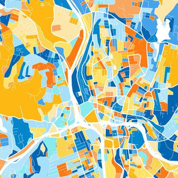 Art map of Waterbury, UnitedStates in Blue Orange