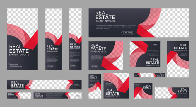 Real Estate web banner design template Set. Vertical, Horizontal and Square banners with standard size and place for photos. Vector design EPS