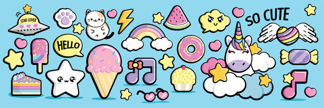 Kawaii elements in pastel color style vector set.