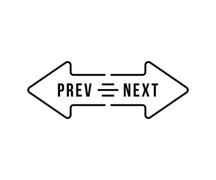 black arrow like thin line prev and next icon