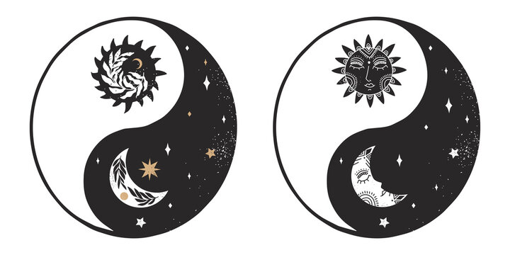 Set of ying and yang in boho style. Vector illustration.