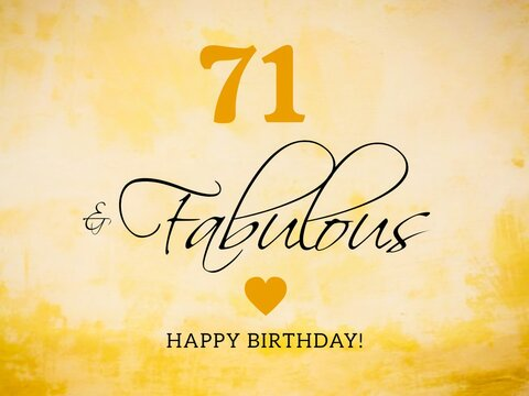 71st birthday card wishes illustration