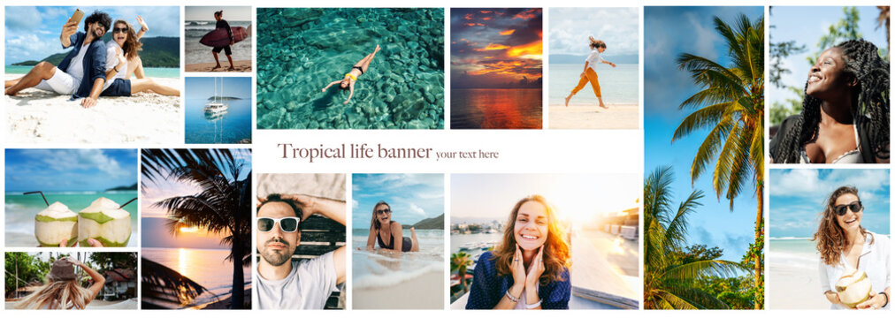 Collection of images of different happy young active people on summer vacation at the sea. Diversity concept
