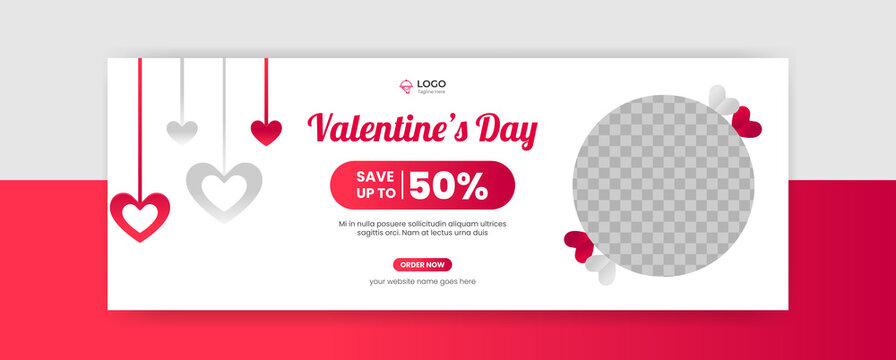 Valentine's Day Facebook cover banner template social media post Sale background