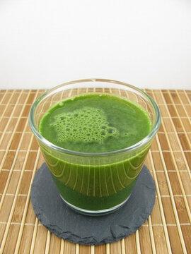 Fresh barley gras drink in a glass