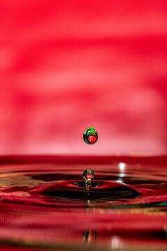 Amazing vertical shot of a droplet bouncing on water -  red background