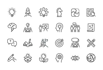 Obraz Creative business solutions related icon set. Innovation team management. Editable stroke. Pixel Perfect at 64x64 - fototapety do salonu