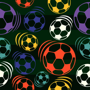 Pattern with simple multi-colored soccer balls on a green background