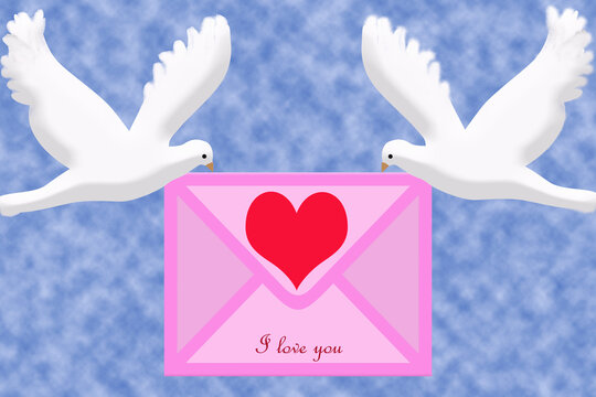 """3D rendering. Two pigeons carry a pink envelope with a red heart and the inscription: """"I love you"""" in their beaks."""