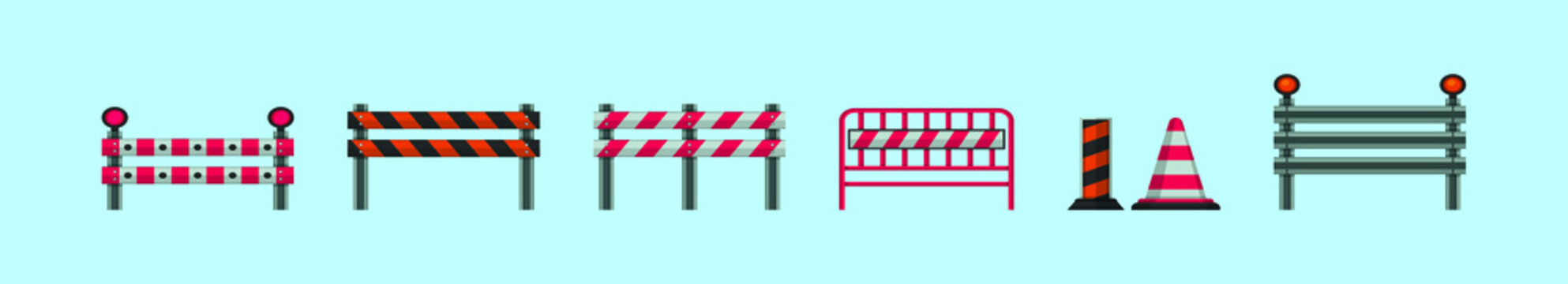 set of guardrail cartoon icon design template with various models. vector illustration isolated on blue background