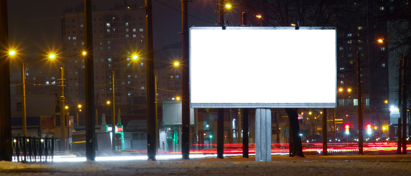 billboard screen winter MOCKUP  with white field. at night near the road