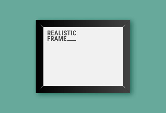 Realistic horizontal picture frame isolated on green wall background. Blank picture frame template. Empty photo frame mockup.