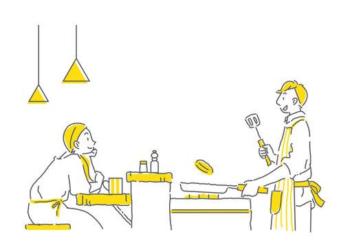 カウンターキッチン越しにおしゃべりするカップルのシンプルな手描きの線画イラスト