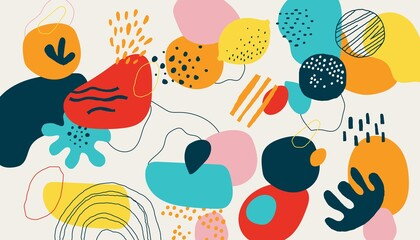 Modern scribble background. Trendy geometric doodle shapes, drops and natural forms. Modern bright creative colorful pattern with stripes and circles. Vector horizontal texture for fabric and print