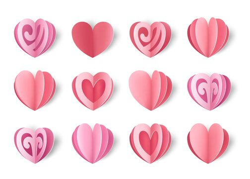 Paper hearts. Valentine s day decorative elements. Realistic cut out multilayer shapes for greeting cards and promotion banners. Isolated pink folded cardboard. Holiday gifts, vector romantic set