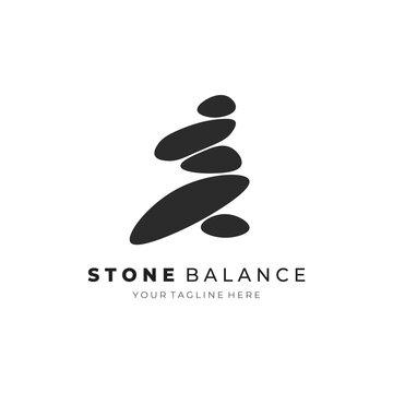stone balancing logo vector design vintage illustration
