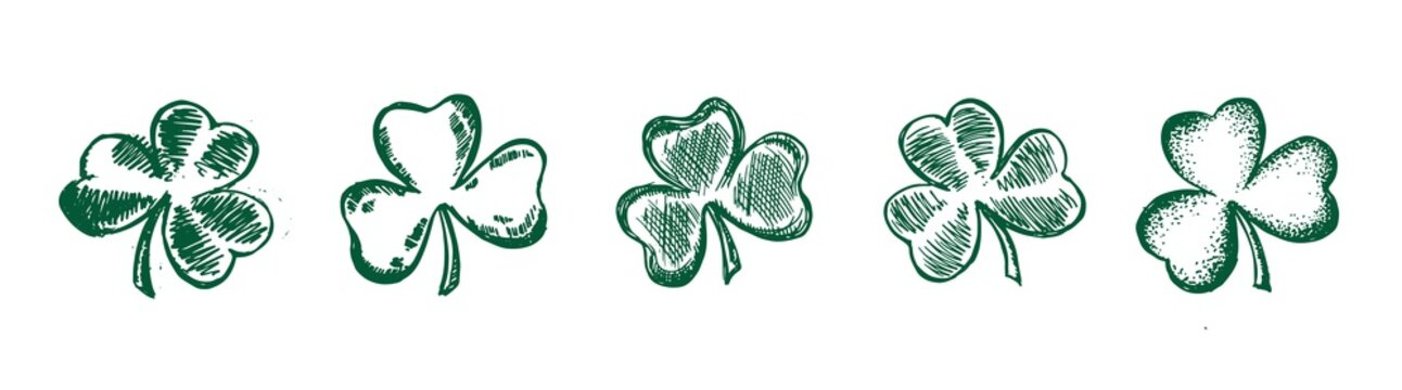 Clover set, hand drawn style. Patrick day.Vector illustration.