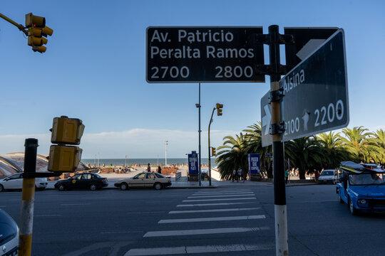 MAR DEL PLATA, ARGENTINA - Jan 08, 2021: intersection of Patricio Peralta Ramos and Alsina streets in Mar del Plata, Buenos Aires, Argentina