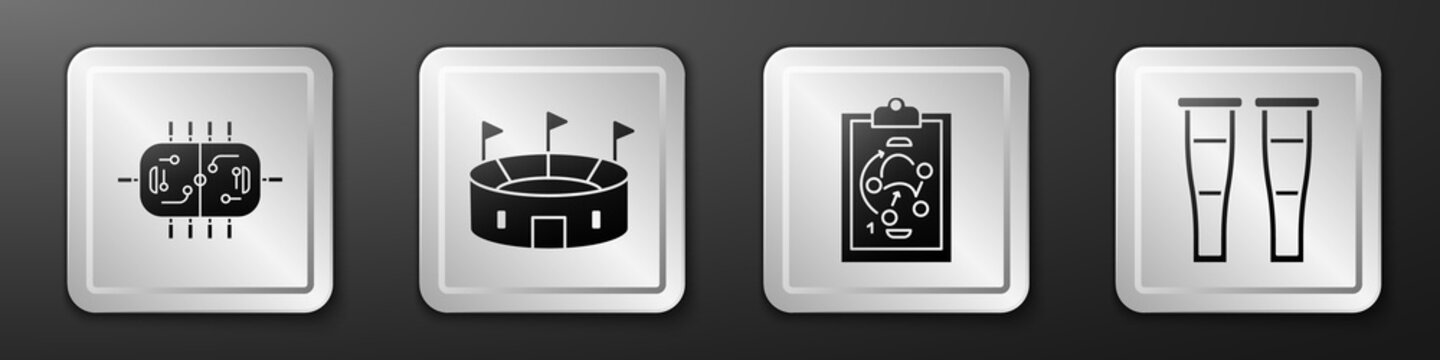 Set Hockey table, Hockey stadium, Planning strategy and Crutch or crutches icon. Silver square button. Vector.