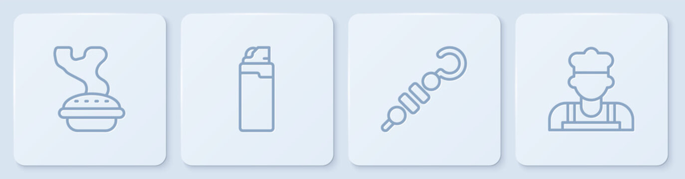 Set line Homemade pie, Grilled shish kebab, Lighter and Cook. White square button. Vector.