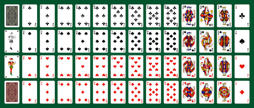 Poker playing cards, full deck - Green background in a separate layer