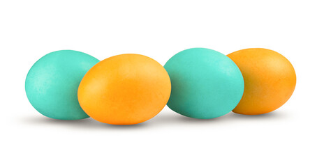 bunch of blue and yellow eggs on a white background