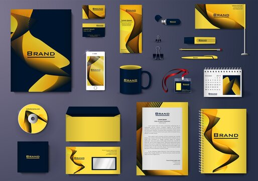 Vector branding identity stationery Mockup set with yellow and blue abstract design. Business templates set includes folder, catalogue cover, CD, notebook, brochure, envelope, corporate letter design