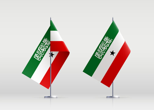 Somaliland flag state symbol isolated on background national banner. Greeting card National Independence Day of the Republic of Somaliland. Illustration banner with realistic state flag.