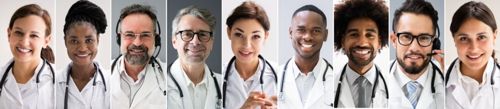 Multiethnic Doctor Faces Photo Collage