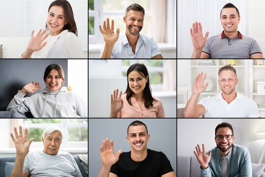 Online Video Conferencing Call Waving Hand Group Screen