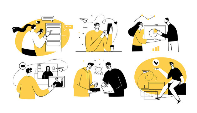 Set of 6 illustrations Remote Work concept. Home office with men and women taking part in business activity. Outline vector illustration.