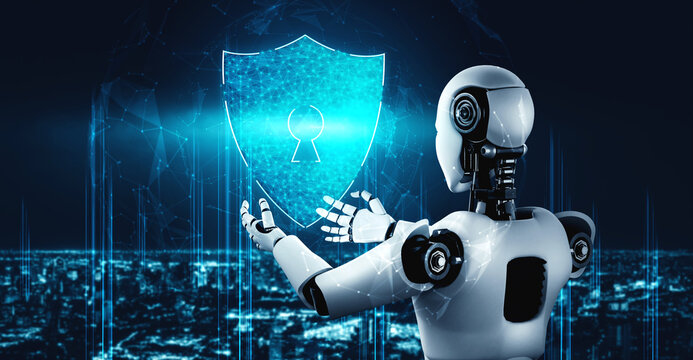 AI robot using cyber security to protect information privacy . Futuristic concept of cybercrime prevention by artificial intelligence and machine learning process . 3D rendering illustration .