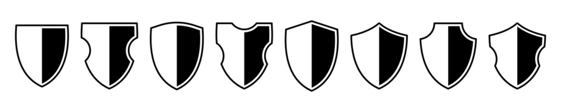 Shields icon set. Different shields shapes. Protect badge. Black security icon. Protection symbol. Security logo.Vector graphic.