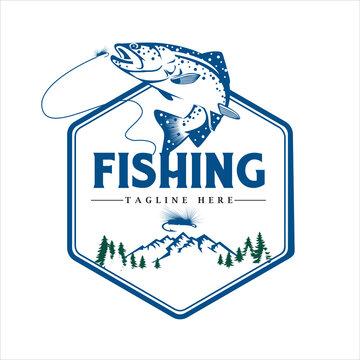 Gone fishing logo on mountain background, vector illustration