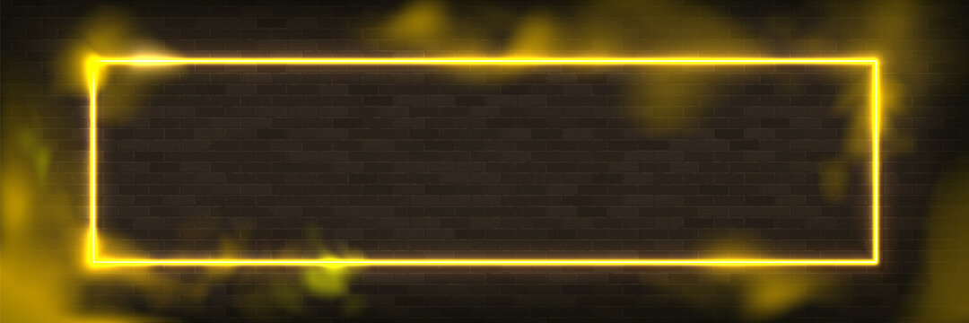 Glowing rectangle neon vector illustration lighting frame with yellow background.