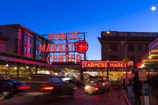 Public Market Center at twilight. It is an old continually operated public farmers' markets in the United States, long exposure technic for car light trails