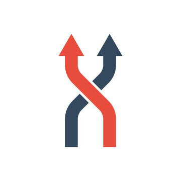 two intersecting arrows moving up or forward, vector bicolor icon