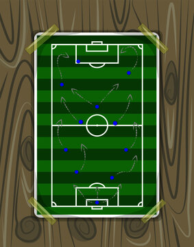 Illustration of a strategic football map on a wooden board