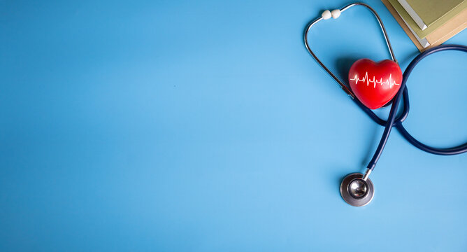 red heart with stethoscope, heart health Insurance for your health concept.Annual health check