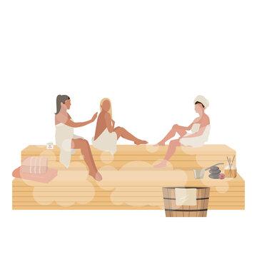 Woman day in sauna women relax in stream room,