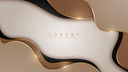 Abstract black and brown luxury background with golden line , paper cut style 3d. vector illustration. Fototapete